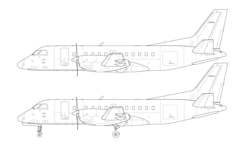 Saab 340B blueprint line drawing