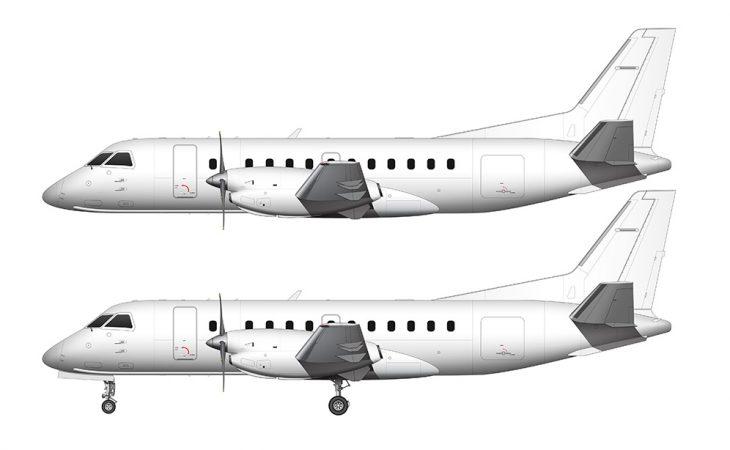 Saab 340B all white side view