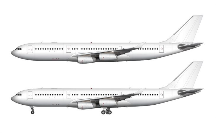 Airbus A340-200 white side view