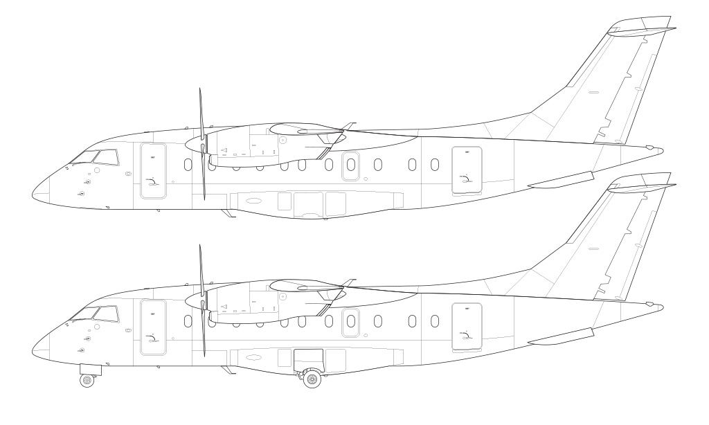 Dornier 328-110 blueprint line drawing