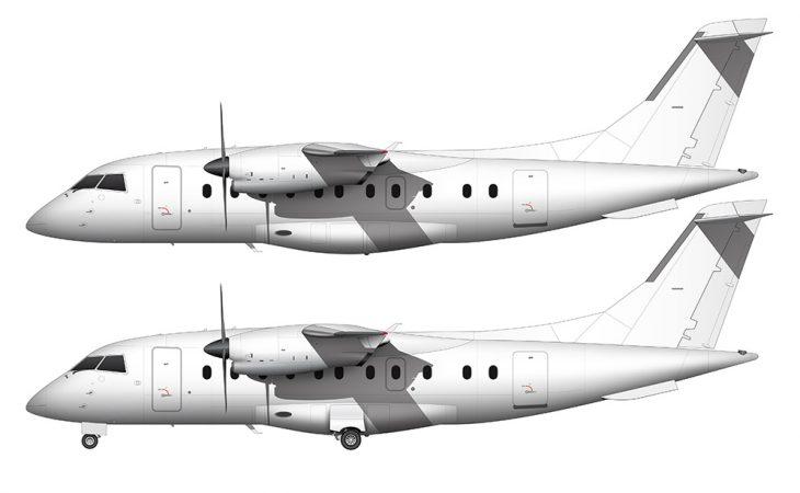 all white Dornier 328-110 side view
