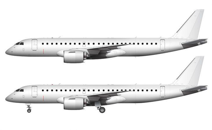 Embraer E190-E2 regional jet side view