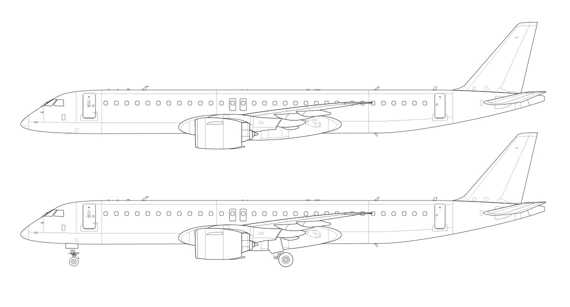 E195-E2 side view line drawing