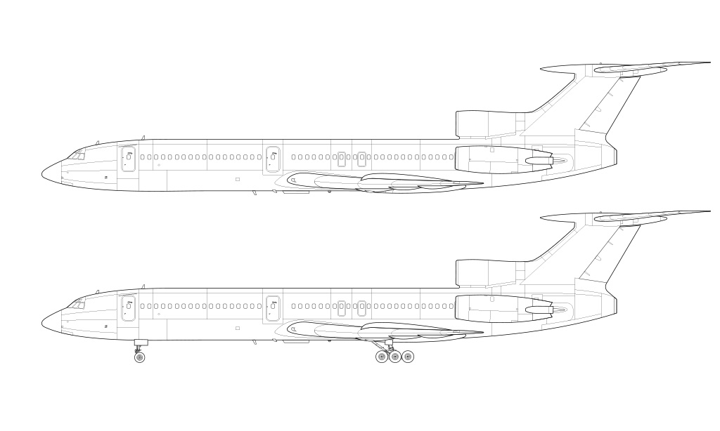 Tupolev Tu-154M blueprint