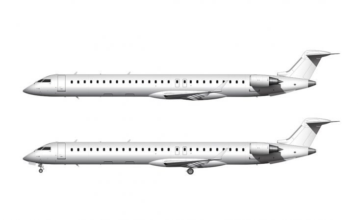 all white Bombardier CRJ-1000 side view