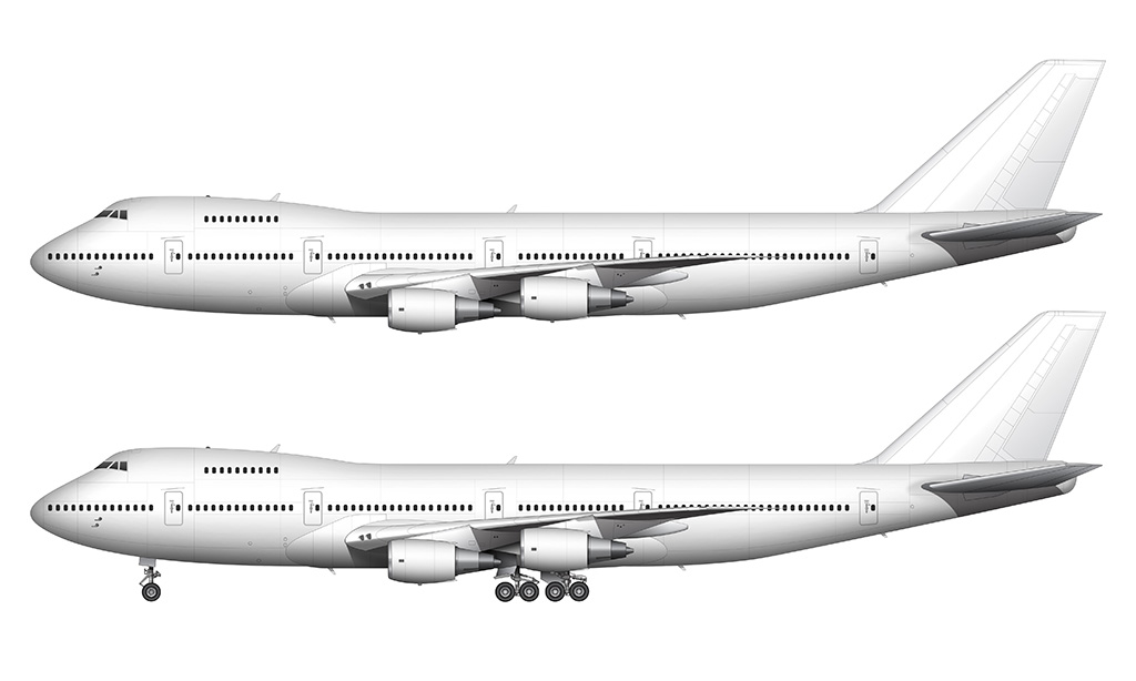 white Boeing 747-200 General Electric engines