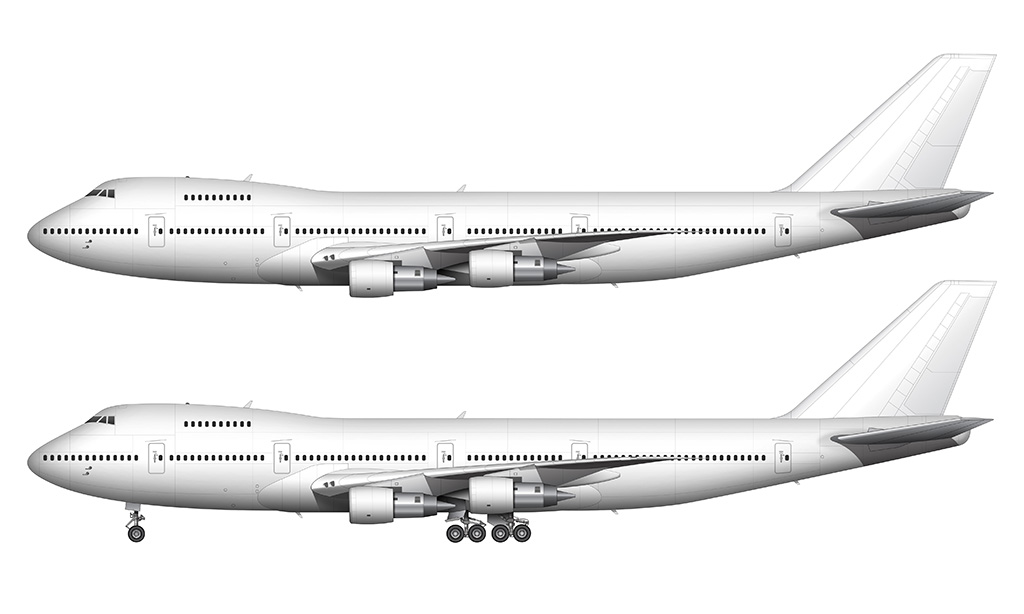 All White Boeing 747-200 Pratt & Whitney