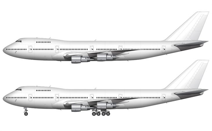 white Boeing 747-200 with Pratt & Whitney engines