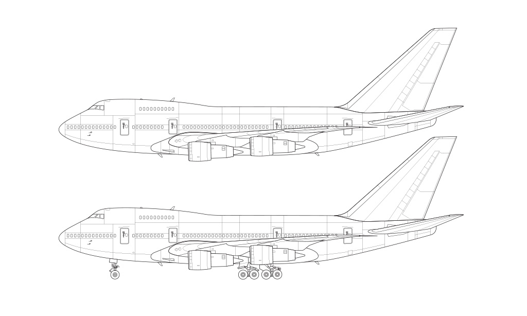 747SP blueprint pratt whitney engines