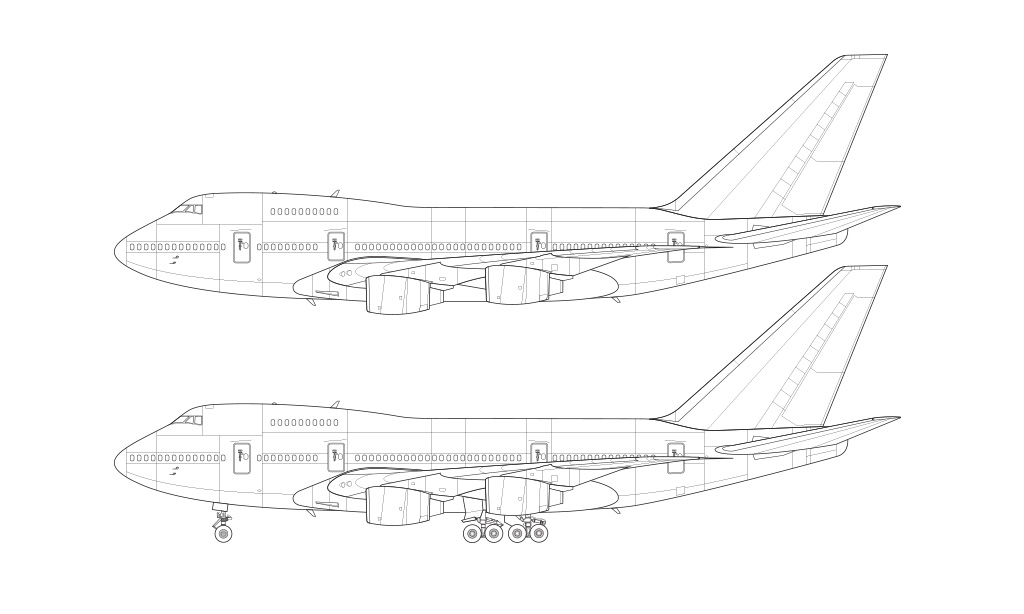 747SP blueprint rolls royce engines
