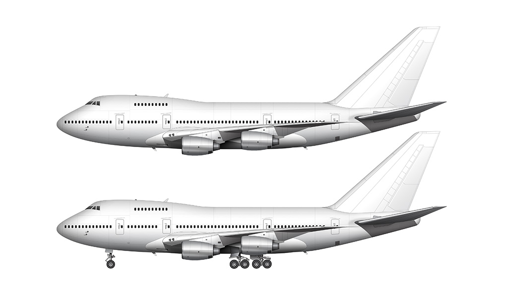 Boeing 747SP silver rolls royce engines