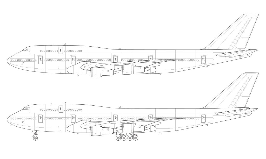 747-300 with Pratt & Whitney engines line drawing