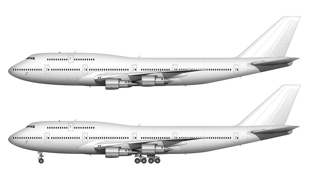 747-300 Pratt & Whitney engines side view