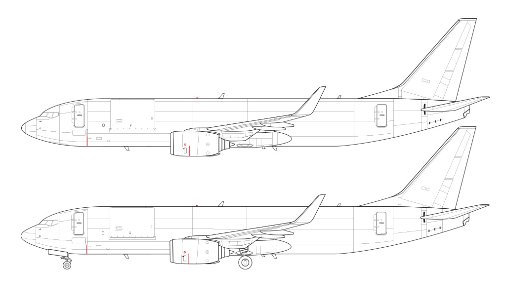 737-800BCF line drawing