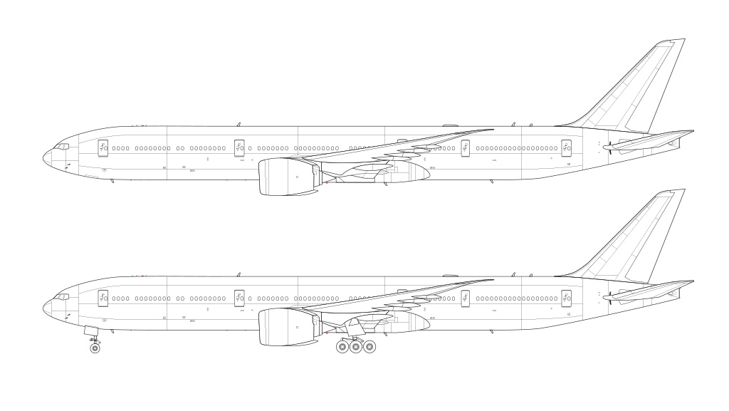 Boeing 777-9 technical line drawing