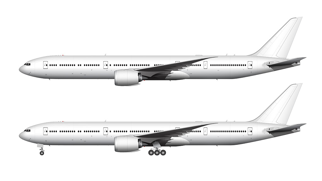 Boeing 777-9 side view template