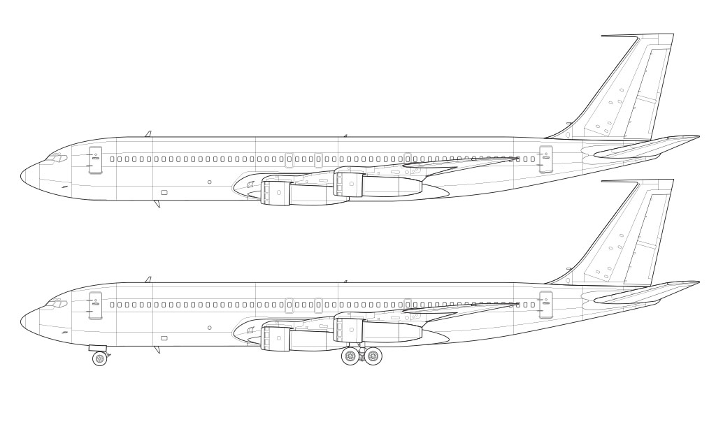 Boeing 707-320C line drawing