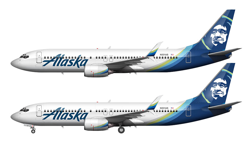 Alaska Airlines new livery side view