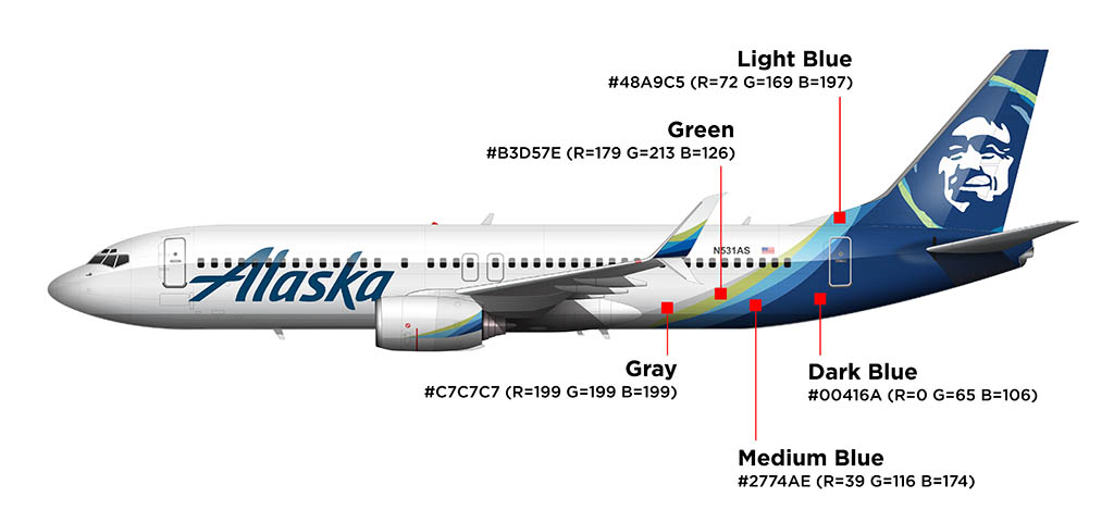 Alaska Airlines new livery colors