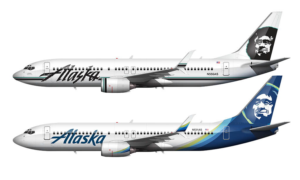 new alaska airlines livery vs old livery