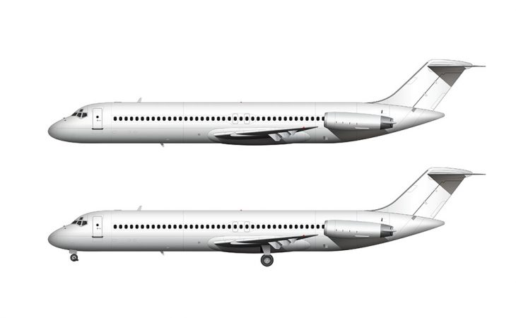 All white McDonnell Douglas DC-9-40 side view