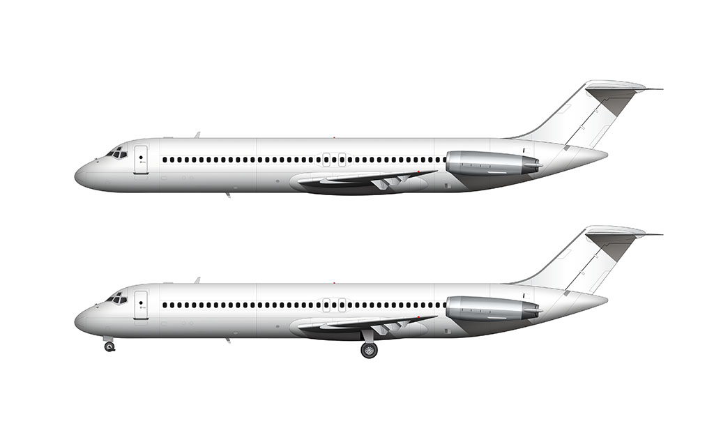 All white McDonnell Douglas DC-9-40 side view with bare metal engines
