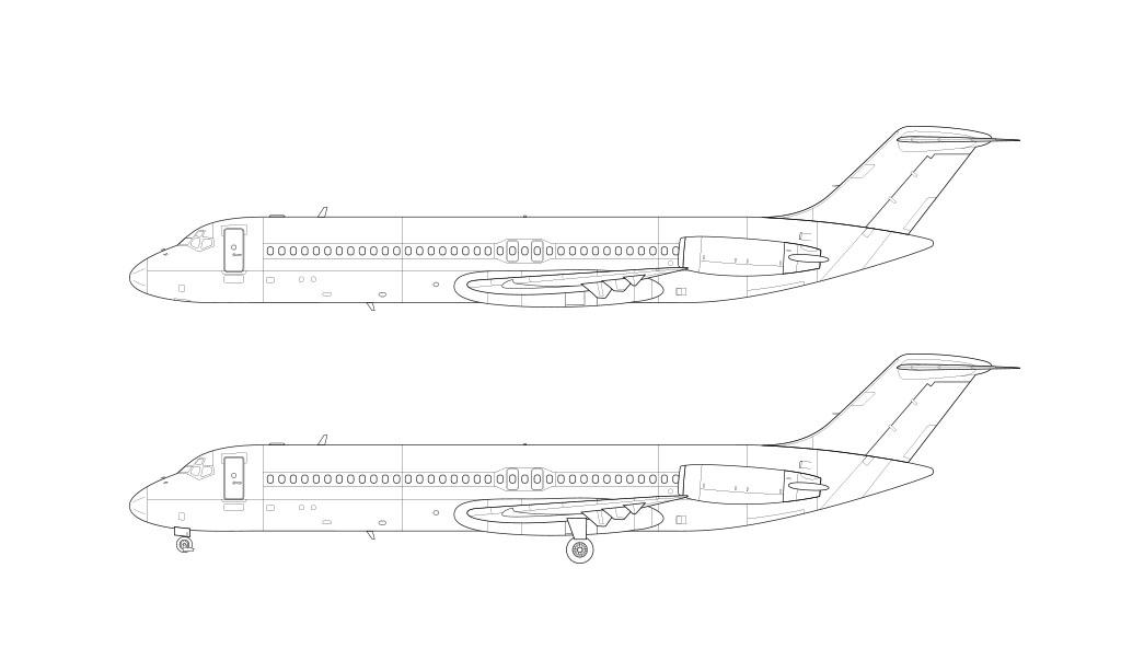 McDonnell Douglas DC-9-40 line drawing