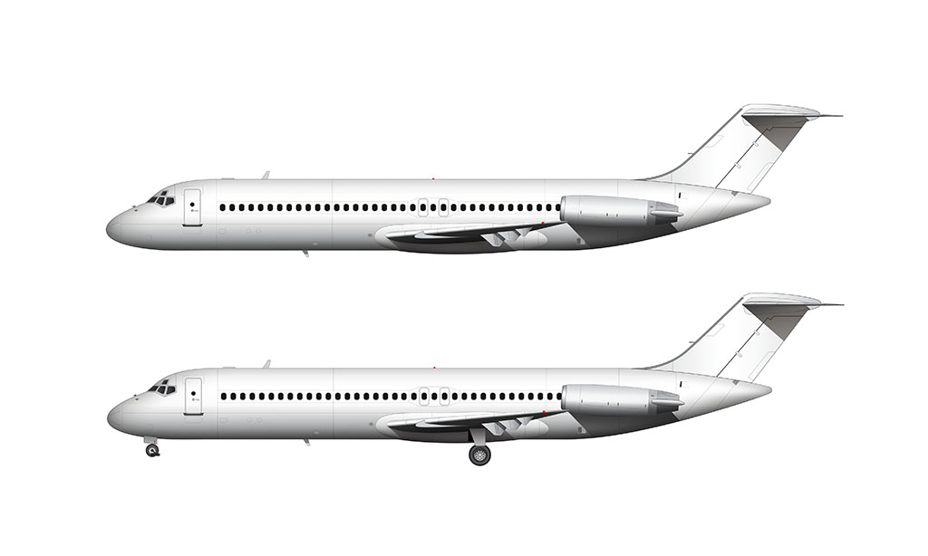 All White McDonnell Douglas DC-9-30 side view