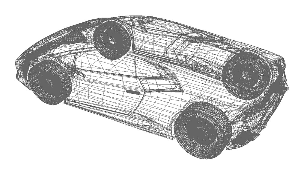 huracan 3d model wireframe