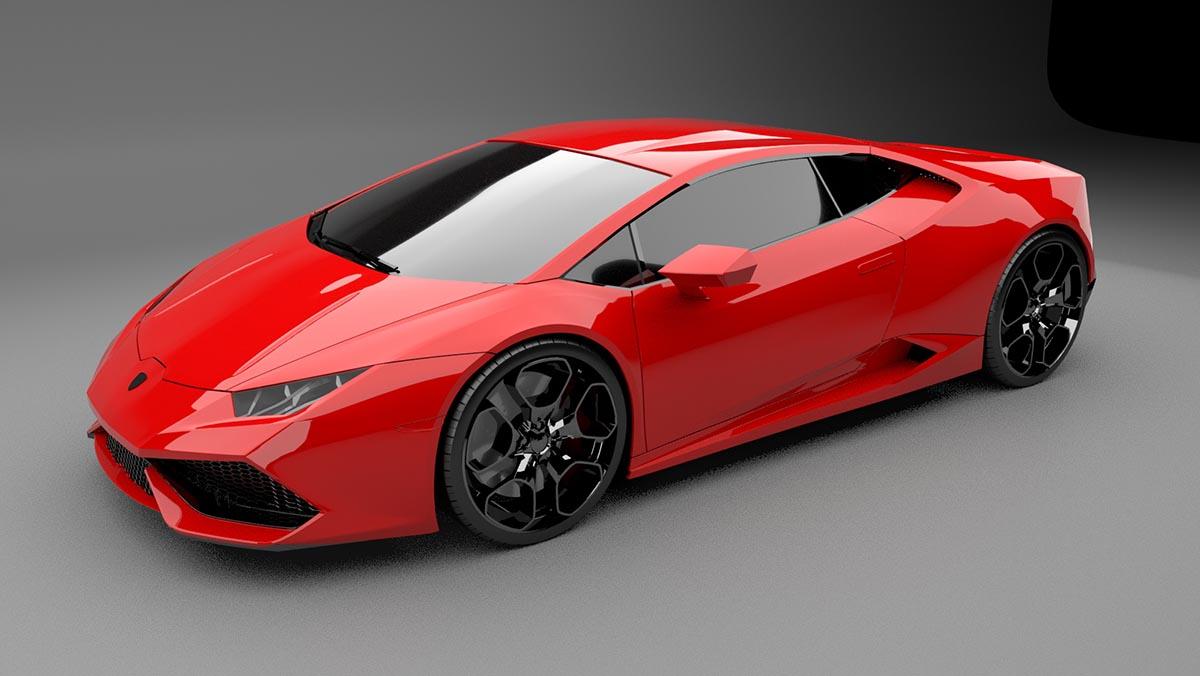 Lamborghini Huracan 3d model red