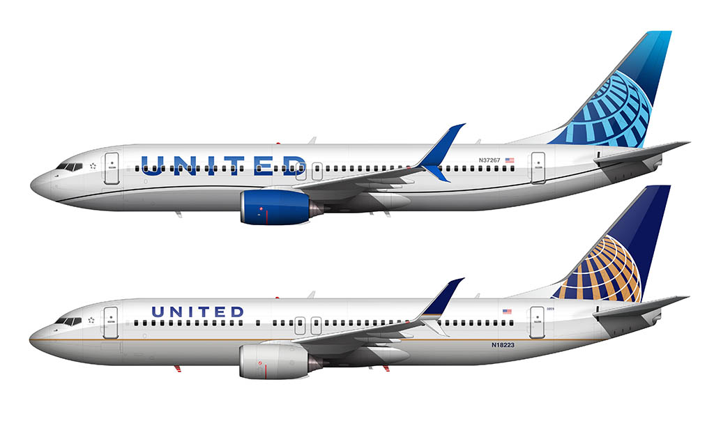 new United livery compared to the old livery