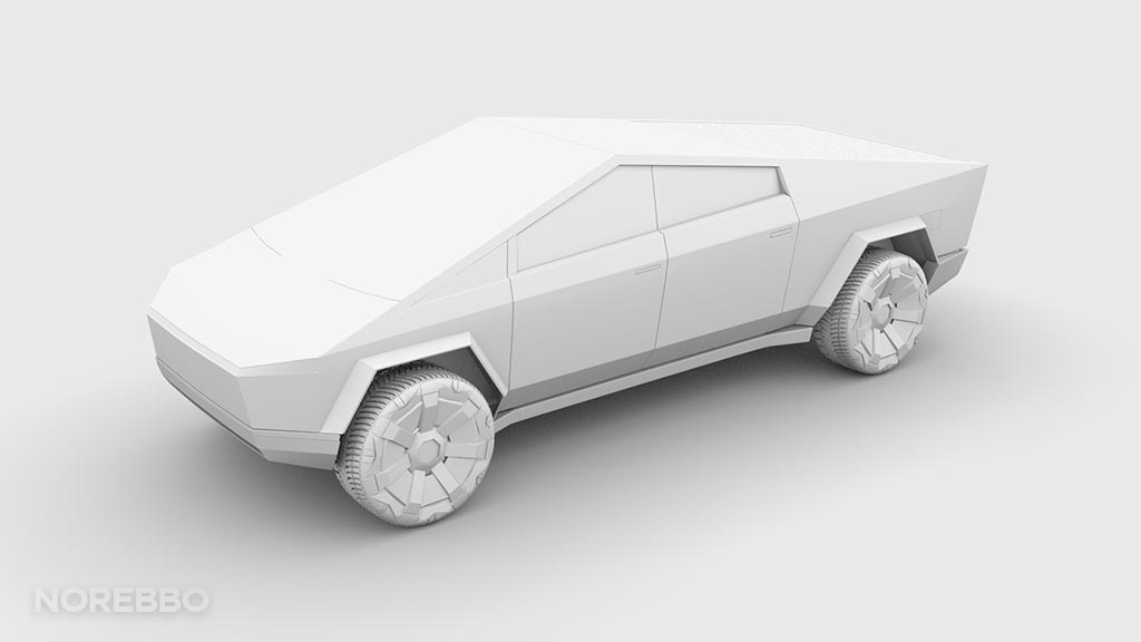 Cybertruck 3d model ambient occlusion front view