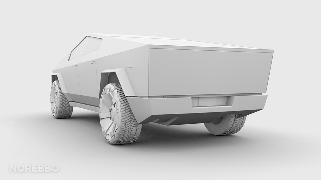 Cybertruck 3d model rear view