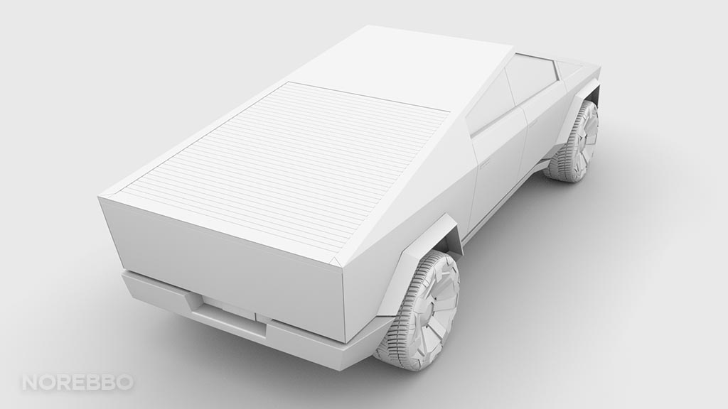 Tesla Cybertruck 3d model ambient occlusion
