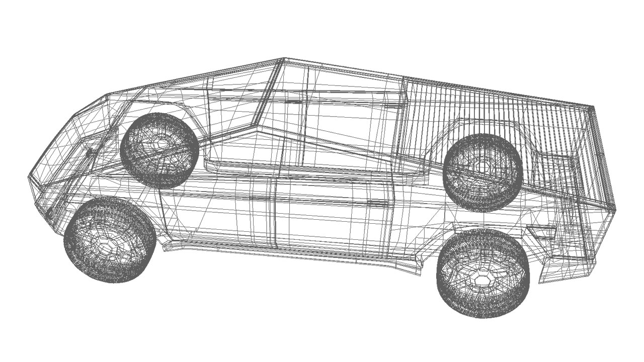 Tesla Cybertruck 3d model wireframe