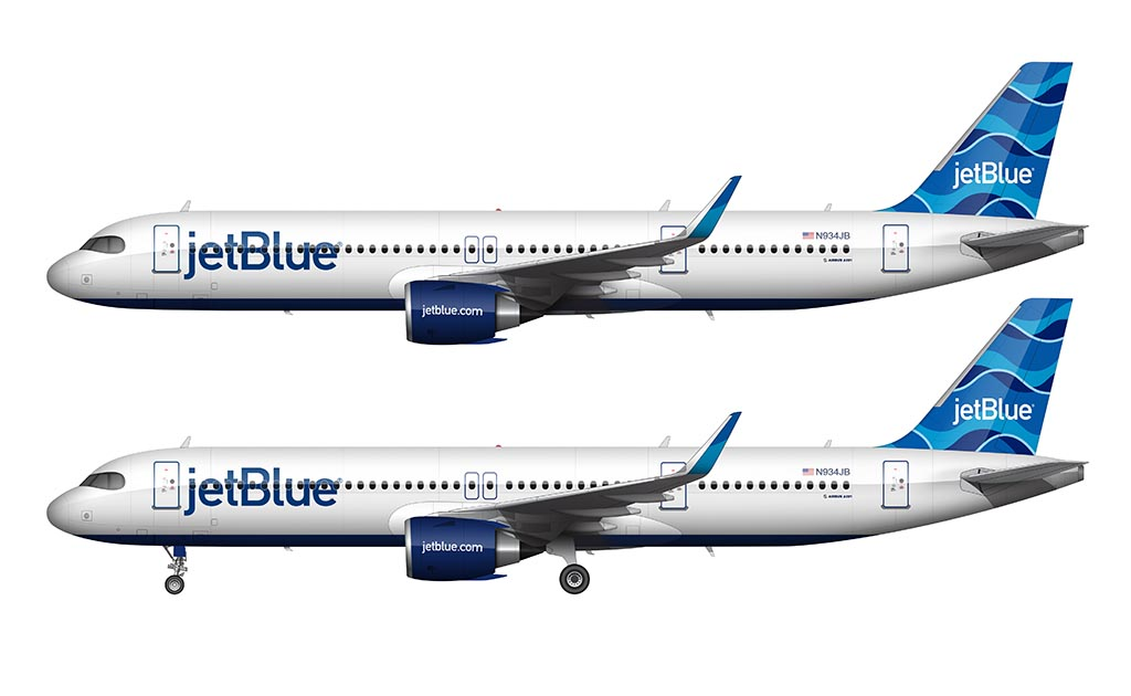 etBlue A321LR wearing the new Streamers tail design