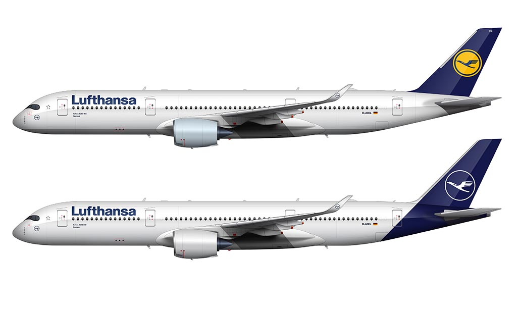 new vs old Lufthansa livery