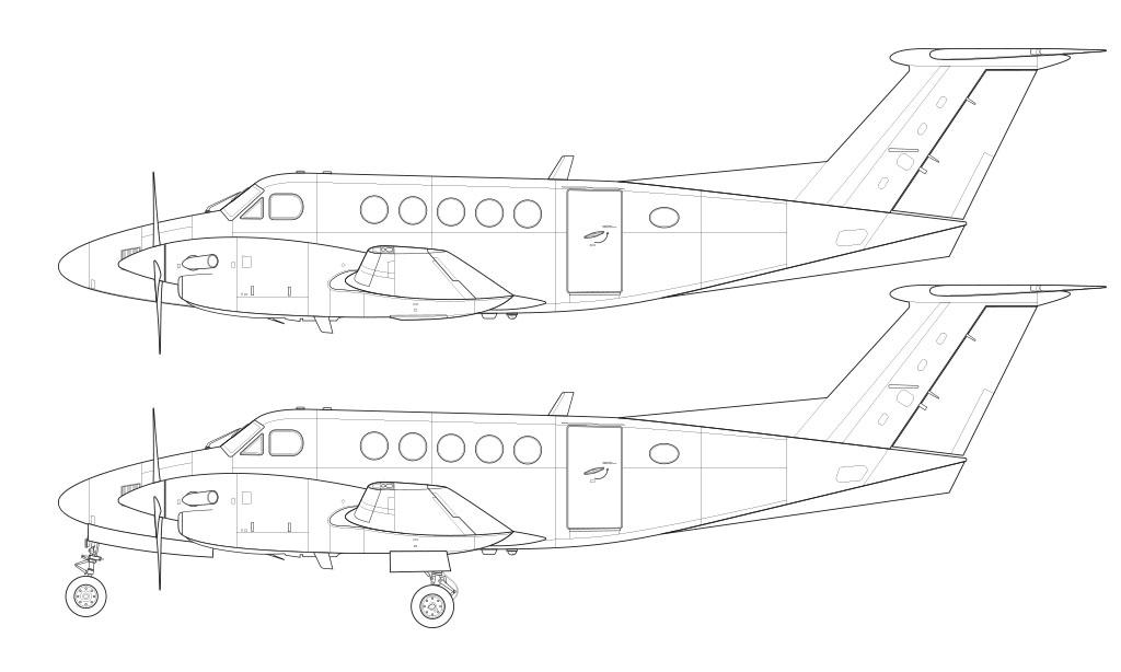 Beechcraft B200 King Air line drawing