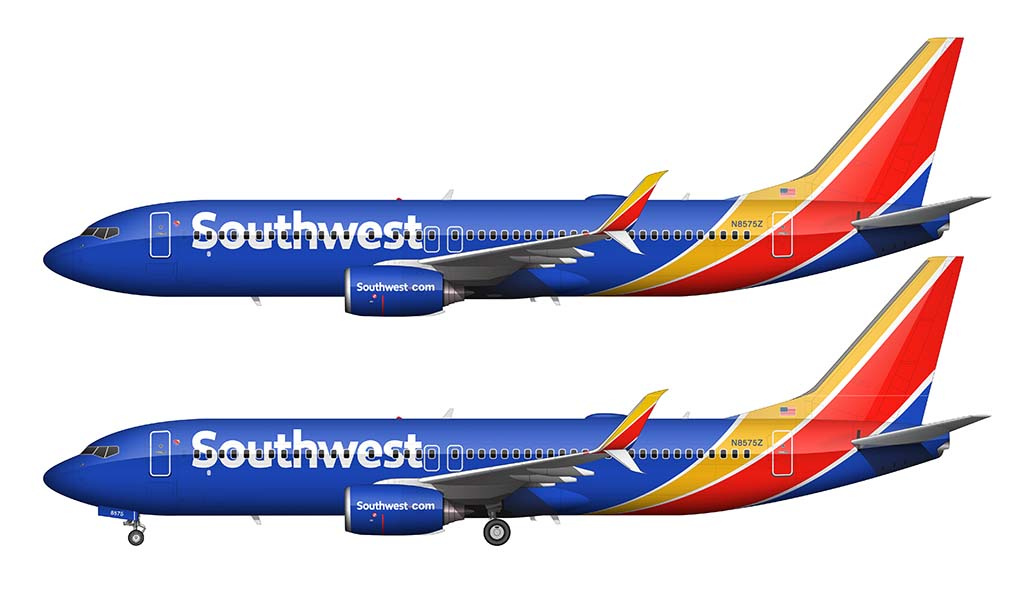 Southwest Airlines heart livery