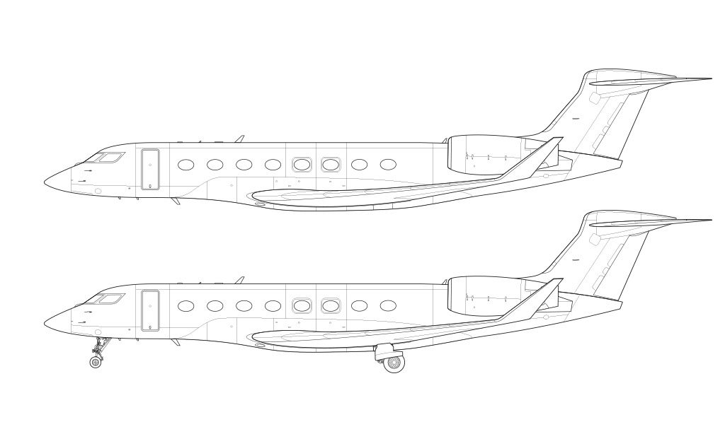 Gulfstream G650ER Line Drawing blueprint