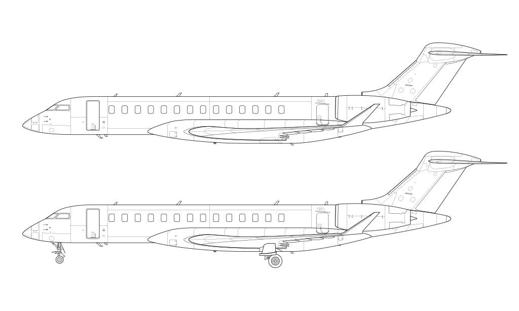 Bombardier Global 7500 line drawing