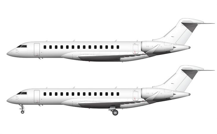 all white Bombardier Global 7500