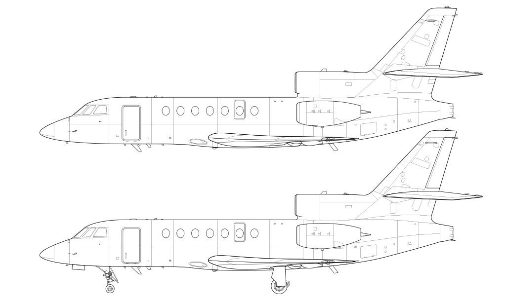 Dassault Falcon 50 / 50EX line drawing