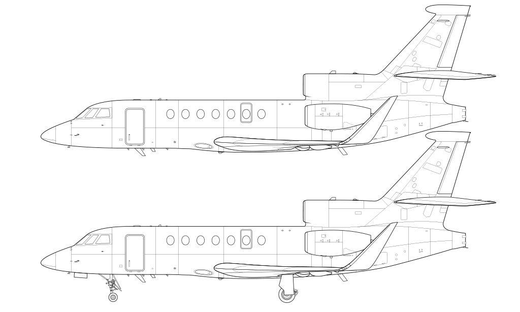 Dassault Falcon 50 line drawing with winglets