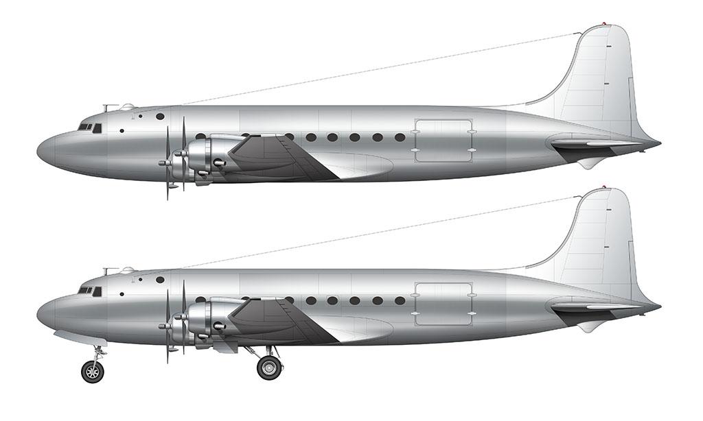 bare aluminum Douglas DC-4 side view