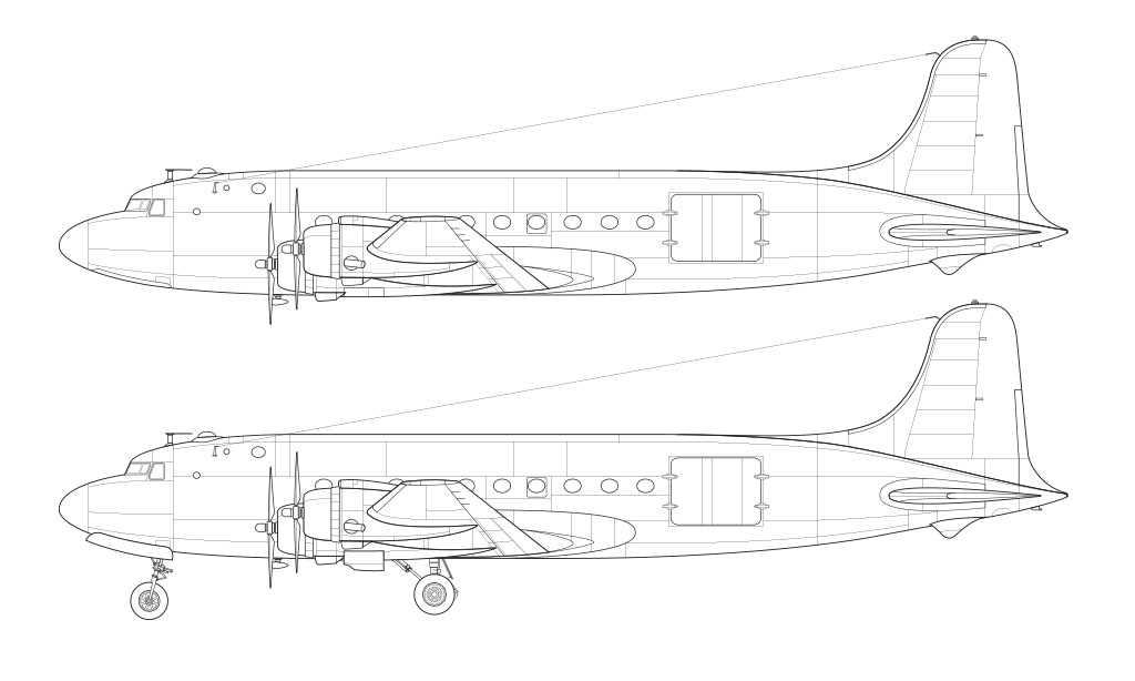Douglas DC-4 line drawing blueprint