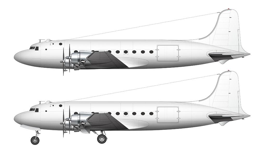 All White Douglas DC-4 side view