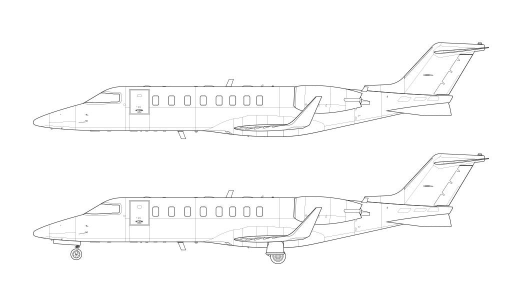 Learjet 45 line drawing blueprint