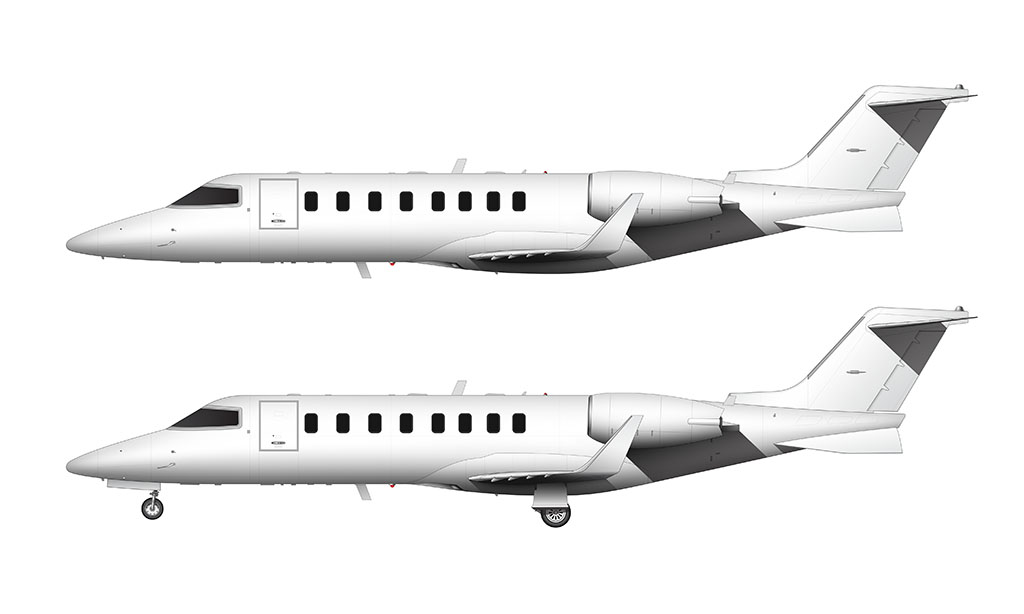 All White Learjet 45 side view